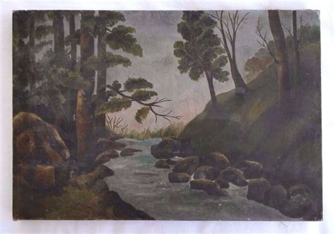 C O Painting by American Primitive Landscape O C Painting Signed Ehs