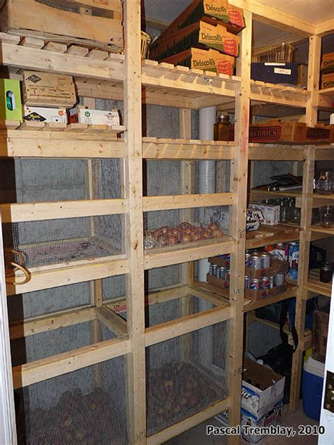 walk in cold room and canning room wooden vegetable bins