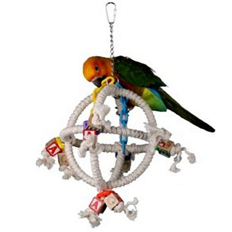 the bird perched on the swing rope perches are soft on bird s feet and fun exercise