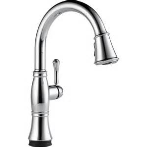 pull down kitchen faucet with touch2o technology from delta faucet shop delta pilar touch chrome high arc kitchen faucet with side spray