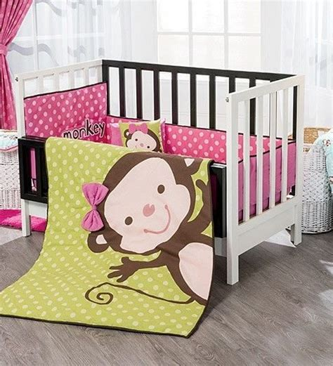 monkey nursery bedding new baby girls polka dot pink green light monkey crib