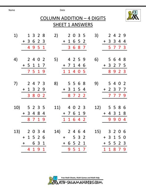 Addition Worksheets For 3rd Grade by Free Printable Addition Worksheets 3rd Grade