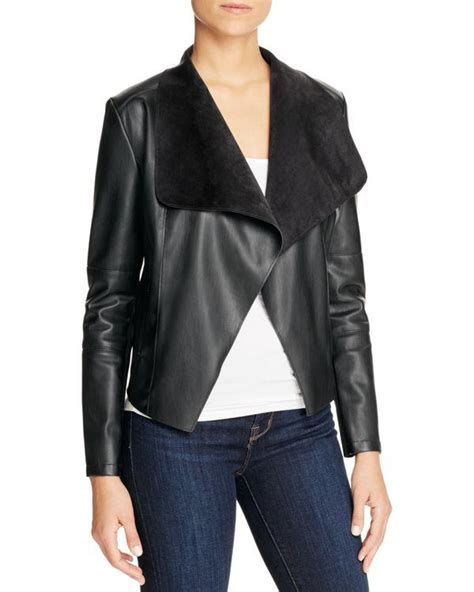 draped faux leather jacket bagatelle draped faux leather jacket in black lyst