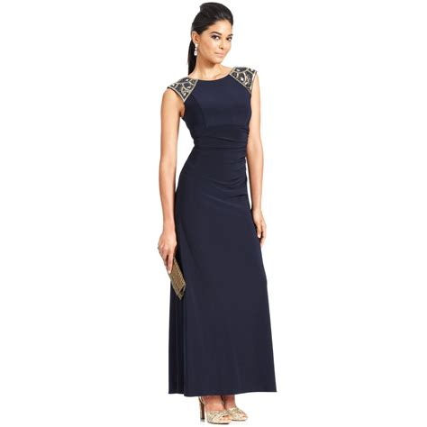 xscape beaded dress xscape xscape dress capsleeve beaded ruched gown in blue