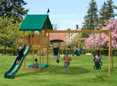 play mor swing sets prices play mor 111 family favorite wooden swing sets wooden