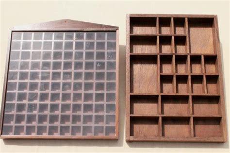 vintage wood shadowbox display shelves for thimbles