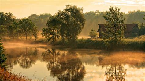 fog house download wallpaper 1920x1080 river fog house morning beams sun dawn awakening
