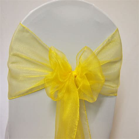 Organza Yellow covers decoration hire sash yellow organza covers