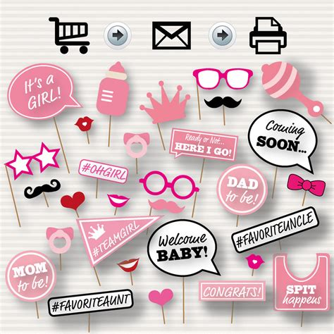 baby girl photo booth props printable baby shower printable photo booth props baby shower