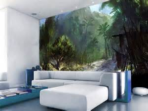 Wall Murals Com Forest Hand Painted Wall Murals Living Room Homescorner Com