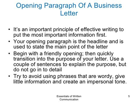 Business Letter Last Paragraph business communication