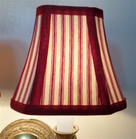 French Country Chandelier Shades In A Fresh Red Pillow Ticking Country Chandelier Shades