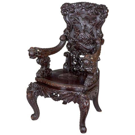 Japanese Armchair by Magnificent Carved Japanese Armchair With Inset Ivory