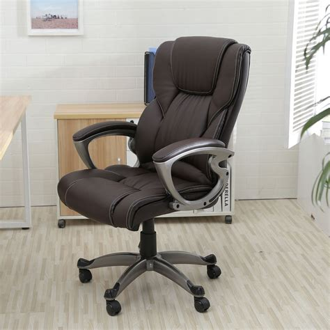 Desk Office Chairs Brown Pu Leather High Back Office Chair Executive Task Ergonomic Computer Desk Ebay