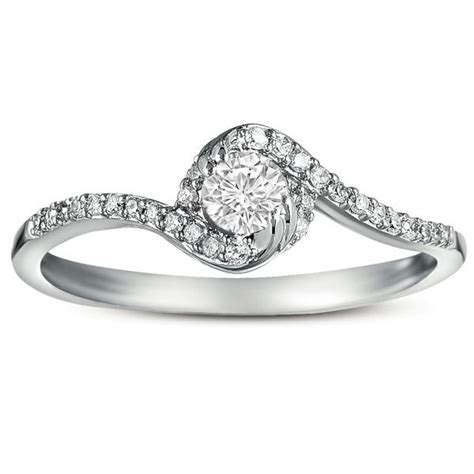 half carat curved engagement ring in white