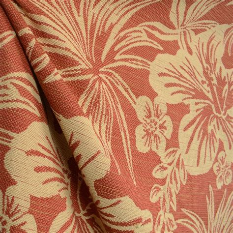hanalei hibiscus chili tropical floral upholstery fabric