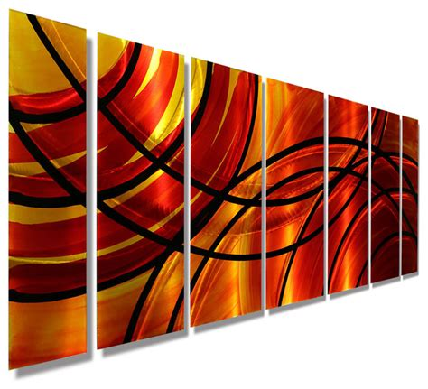 Orange Wall Decor by Orange Abstract Panel Metal Wall Bound By