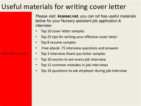cover letter for a nursery nursery assistant cover letter