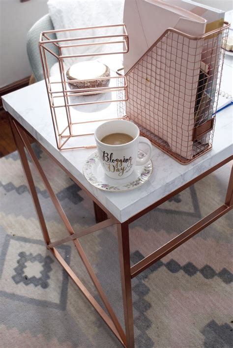 office space details rose gold marble desk rose