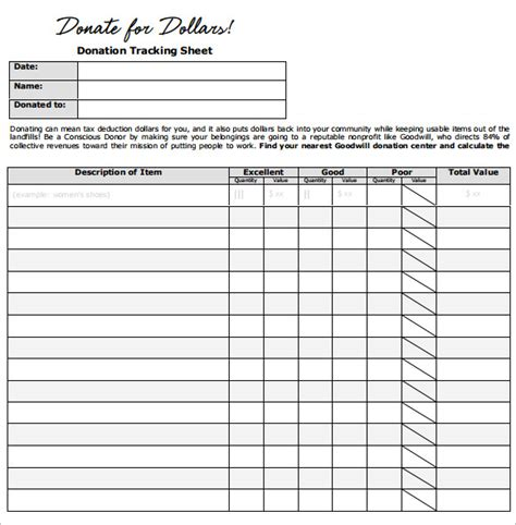 Donation Tracker Template by Sle Donation Sheet 9 Documents In Pdf Word