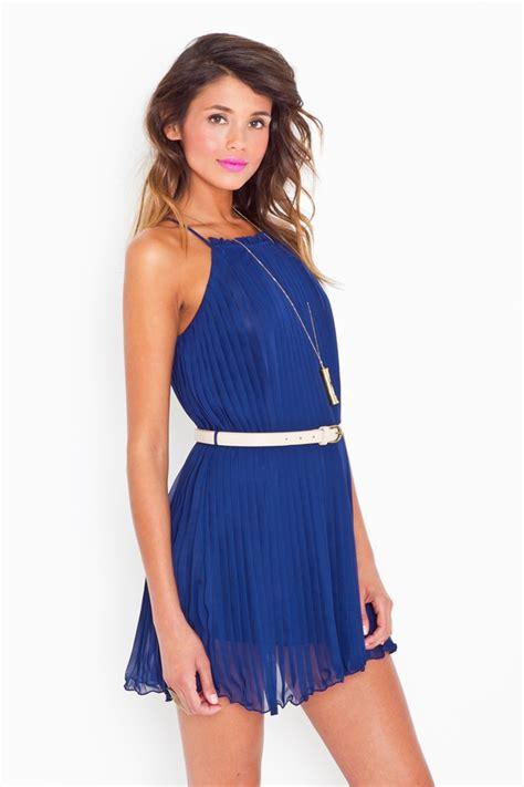 Sweet Pleats Dress lyst gal sweet pleats dress navy in blue