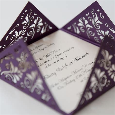 floral purple square laser cut wedding invitation vintage wedding stationery scotland modern