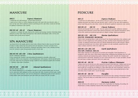nails salon menu images