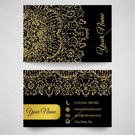 pattern card stock business card template golden pattern on black background