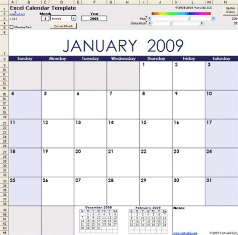 excel calendar template free download and software