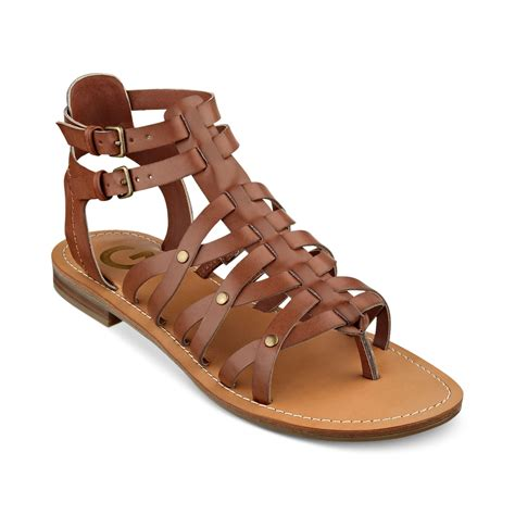 brown sandals for g by guess womens harlaa gladiator flat sandals in brown