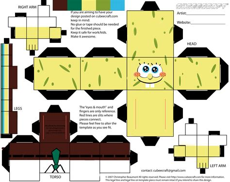 Print Out Paper Crafts - spongebob papercraft samjadegriff