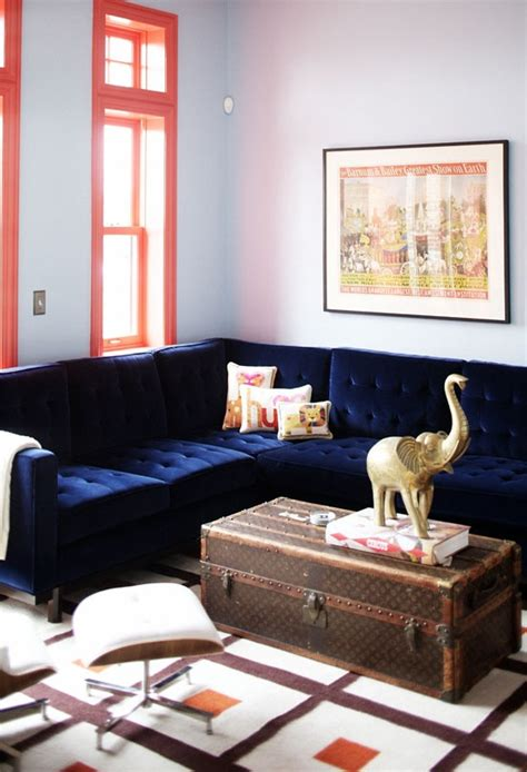 navy blue and orange living room navy blue velvet sofa living room color ideas navy blue orange y
