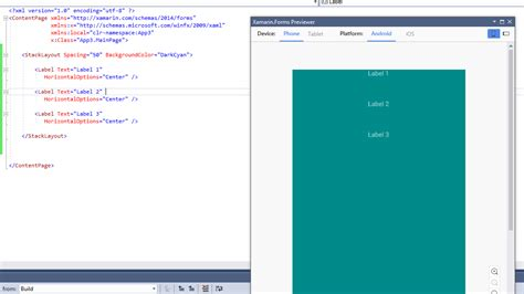 xamarin layout background color xamarin forms previewer