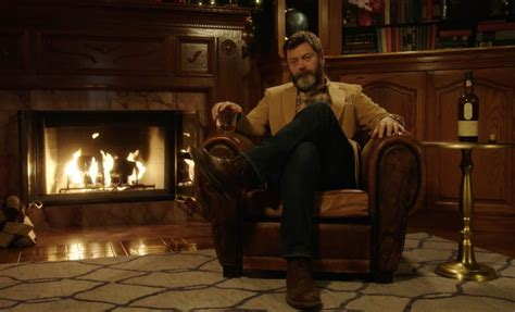 nick offerman drinking whiskey nick offerman drinking whisky by the fire video the
