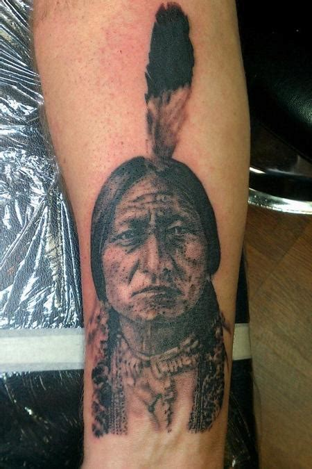 sitting bull tattoo black and gray portrait of sitting bull indian