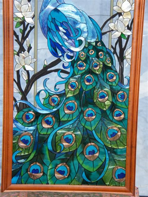 free glass painting peacock stained glass for the home