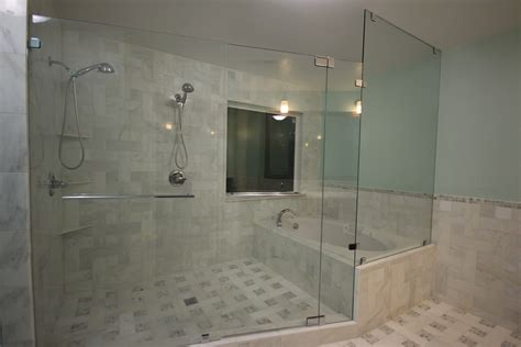 bathroom with bathtub custom shower door with tub enclosed in wet room featured