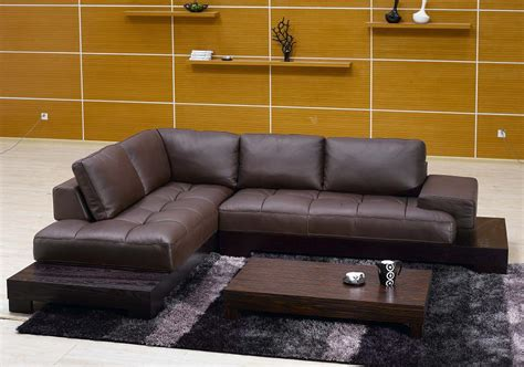 Contemporary L Shaped Brown Leather Sectional Sofa With