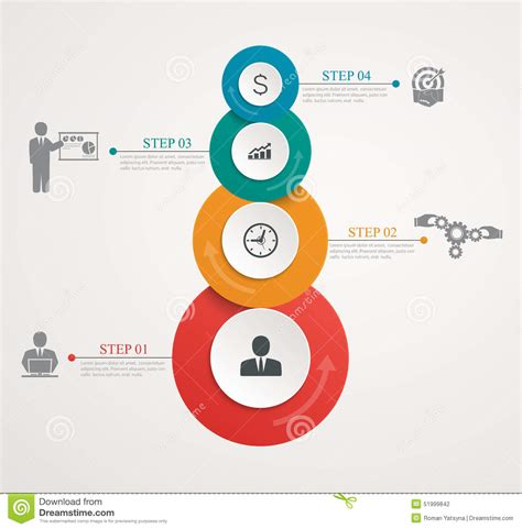 graphic diagram abstract circles parts info graphic with step by step