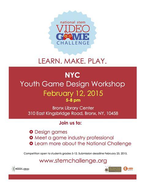 game design workshop youth game design workshop at the bronx library center
