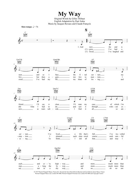 my lyrics with piano chords my way chords by frank sinatra melody line lyrics