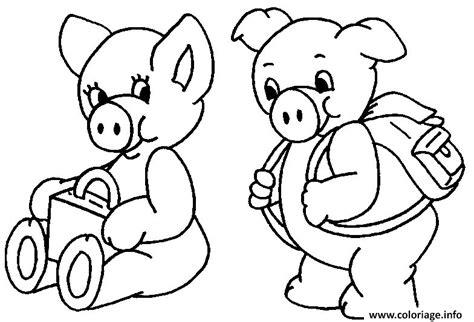 Coloriage Deux Cochon Vont A L Ecole Dessin
