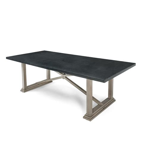 Aluminum Top Dining Table Blue Oak Saylor Rectangular Aluminum Top Outdoor Dining Table Hsayt Rt The Home