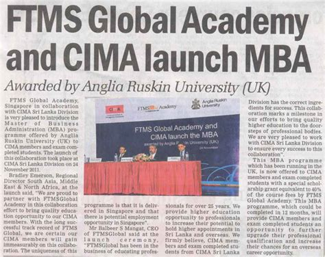 Ftms Mba by Ftmsglobal In News Media Ftmsglobal Academy