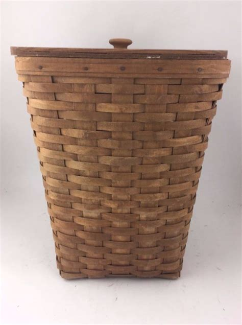 longaberger 1986 small waste basket her w lid darker longaberger her shop collectibles online daily