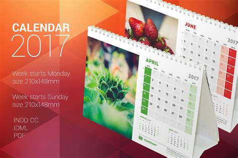 desk calendar 2017 stationery templates creative market