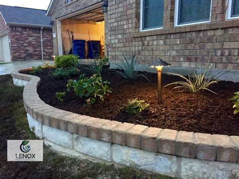 brick flower bed limestone flower bed with brick landscape lighting yelp