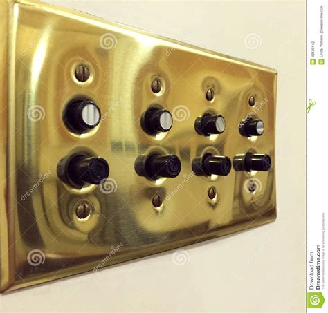antique push button light switch vintage push button light switches stock photo