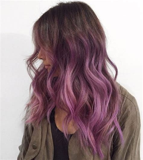 shag haircut brown hair with lavender grey streaks 40 versatile ideas of purple highlights for blonde brown