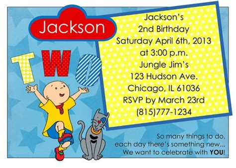 Caillou Birthday Card 17 Best Images About Caillou Birthday Party Ideas On